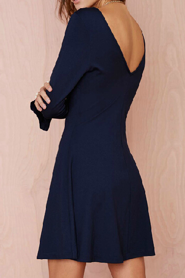 Slim V-Neck Long-Sleeved Blue Dress SFJL