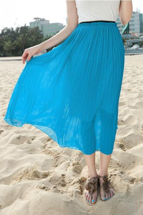 chiffion pleated skirt sea beach skirt for women