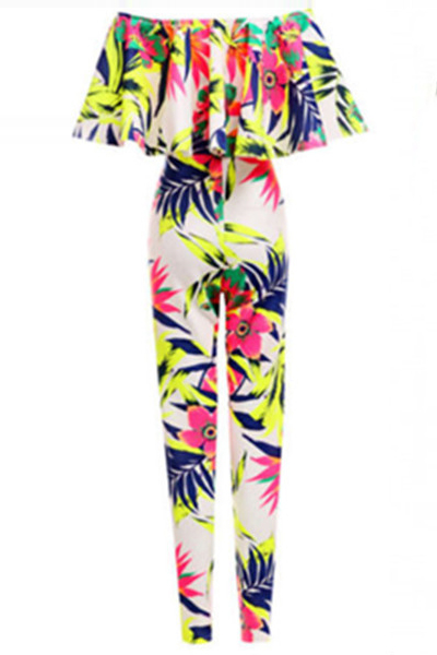 Fashion European Style Boat Neck Flouncing Designed Bright Amazon Floral-print Polyester One-piece Jumpsuit