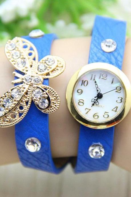 Long Strap Butterfly Rhinestones Blue Woman Watch