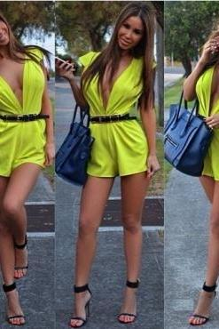 Cheap Sexy Deep V Neck Tank Sleeveless Solid Yellow Polyester One-piece Regular Jumpsuit