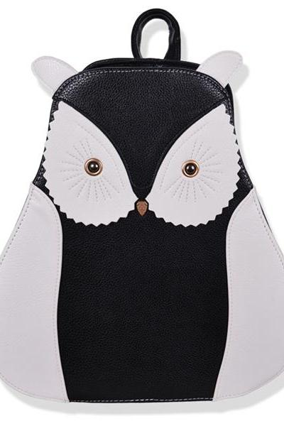 Women's Black And White Owl PU School Bag Backpack