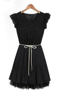 Sleeveless lace stitching Lace Chiffon pleated skirt dress BSSG