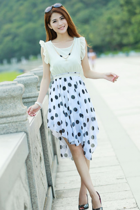 Irregular Polka Dot Chiffon Dress