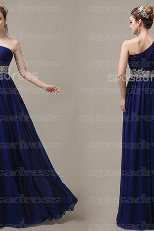 one shoulder prom dresses, blue prom dresses, beaded prom dresses, chiffon prom dresses, affordable prom dresses, dresses for prom, CM099