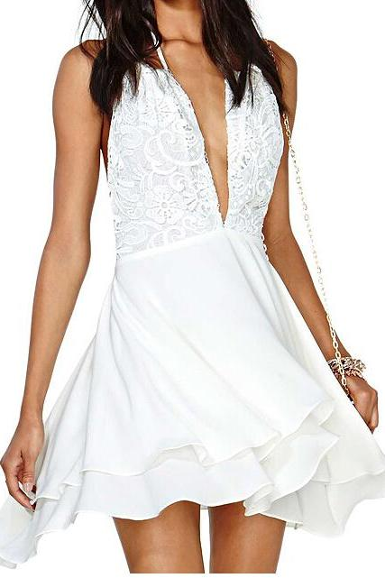 Sexy V-Neck Lace Halter Dress