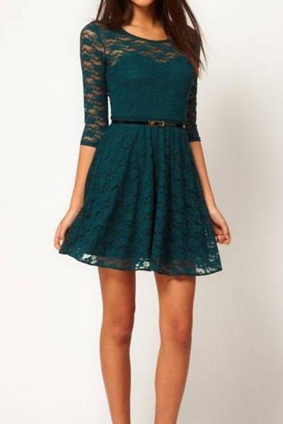 2015 NEW fashion Sexy Sleeve Lace Dress With Belt Waist