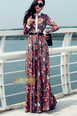 Complex Gulei Si long -sleeved dress
