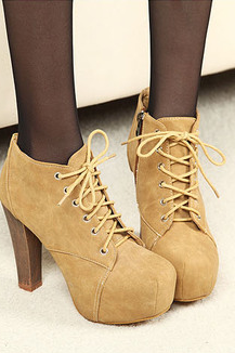 Lace ankle boots thick with Martin boots--apricot