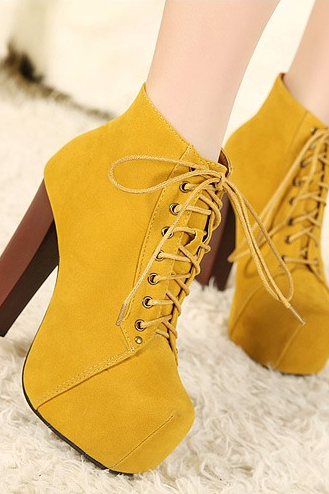 High-heeled boots and ankle boots-yellow