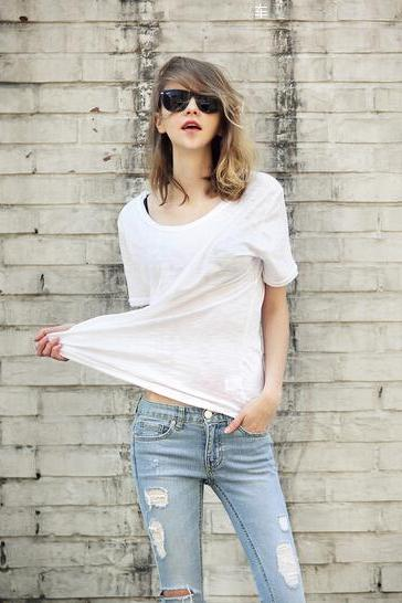 Summer new cotton T-shirt bottoming shirt