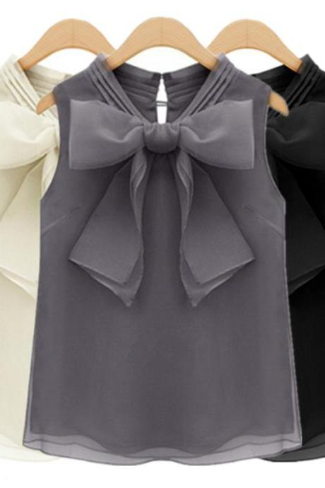 Bow sleeveless chiffon shirt blouse