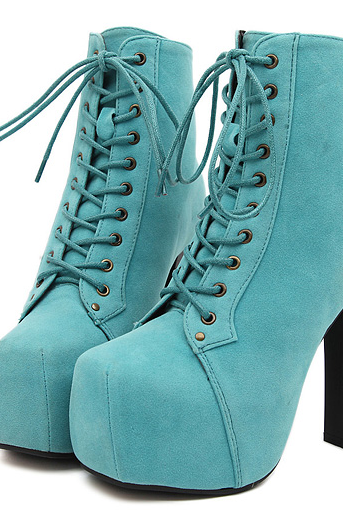 High-heeled boots and ankle boots--blue