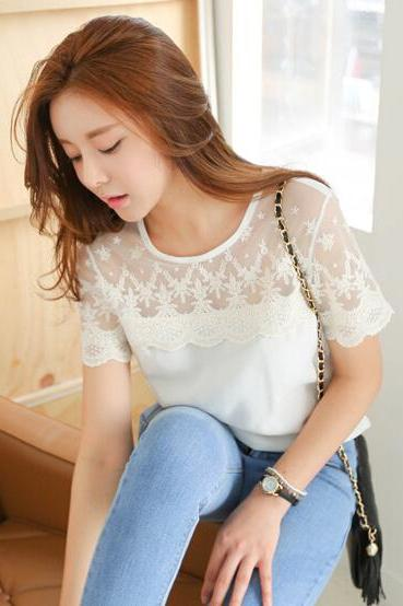 Lace short-sleeved chiffon blouse