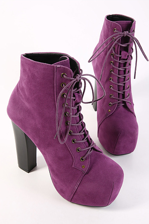 High-heeled boots and ankle boots--purple