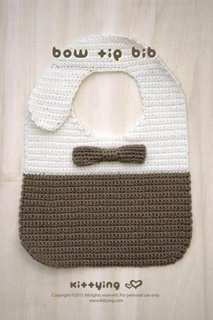 Crochet Pattern Bow Tie Bib - Chart & Written Pattern By Kittying
