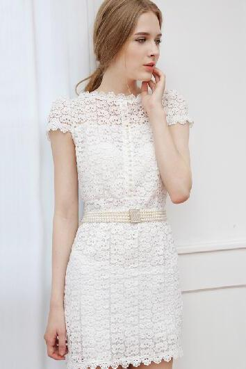 Slim bottoming openwork lace dress
