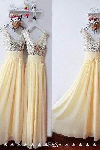 Long Prom Dress,Sequin Yellow Prom Evening Dress,Sexy Sequin Bridesmaid Dress Long,Chiffon Prom Graduation Dress,Elegant A-Line Prom Dress
