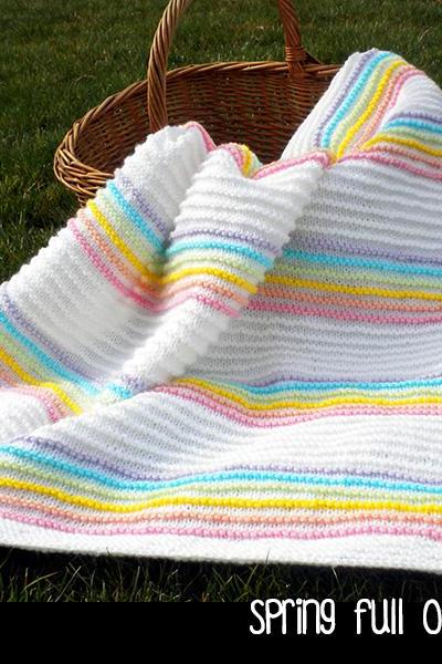 Spring Full of Rainbows Baby Blanket Knitting Pattern
