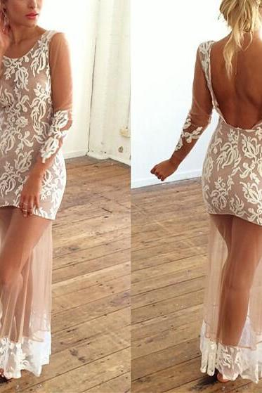 Crochet Lace Long-Sleeved Dress Sexy Halter DG