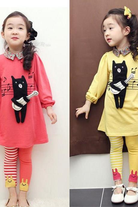 Girls Cute Long sleeve Shirts + Pants Clothing Outfits Sets Size 2t 3t 4-7 FT910