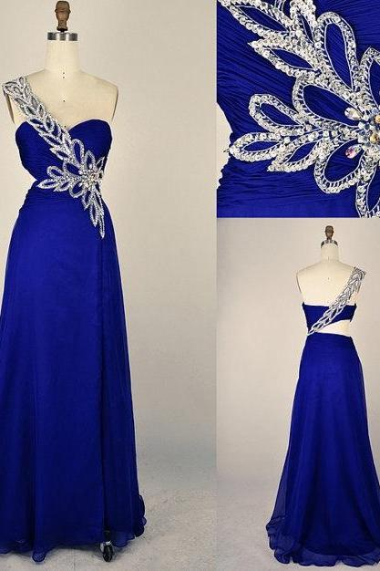 Custom Made A Line Sweetheart One Shoulder Blue Prom Dresses, Formal Dresses, Evening Dresses