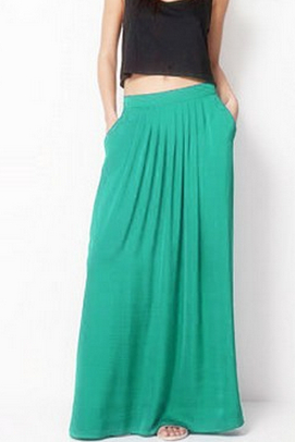Female Celebrity Style Pastel Candy Colored Long Skirt Pleated Skirt Plus Size For Woman Skirts Color Blue Green Rose red
