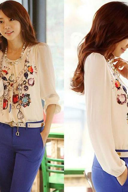 New Fashion Women's Long Sleeve Chiffon Floral Blouse Casual T Shirt Tops