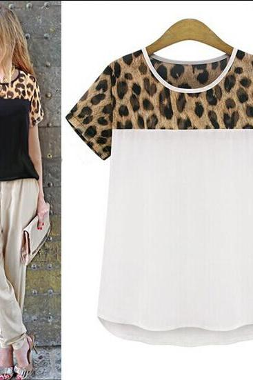 Fashion Women Leopard Printing Chiffon Casual T shirt Tops Blouse Plus Size