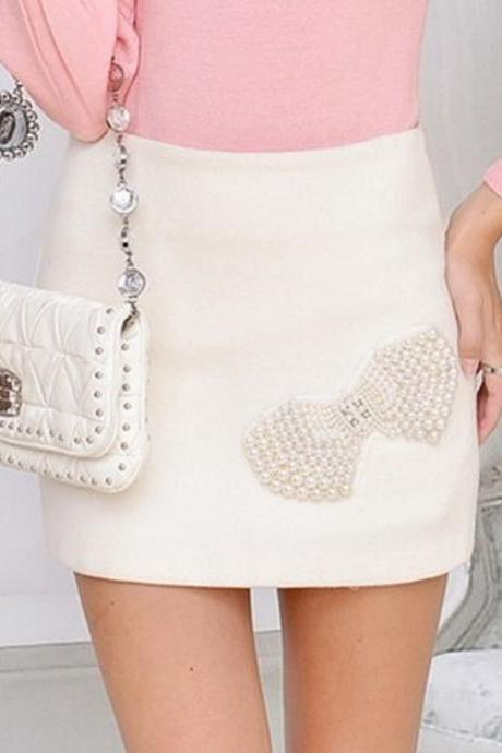 White Beads Bow Woolen Skirt AECACC
