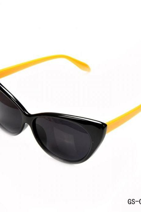 Cat eye summer fashion woman black-yellow sunglasses