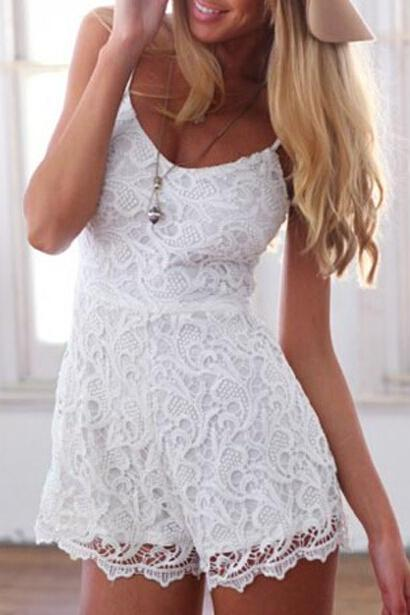 Fashion round neck white lace suspenders piece pants SF32607JL