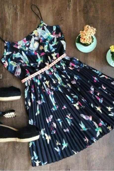 Fashion Sleeveless Sling print dress RGA25KN