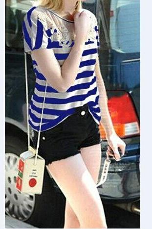 Fashion round neck embroidered striped short-sleeved T-shirt VC32613MN