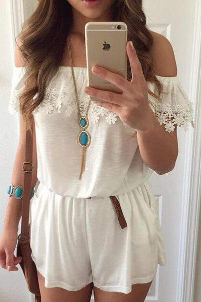 Fashion Sexy Lace Strapless Jumpsuit