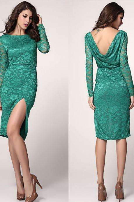 New fashion Long Sleeve Green Lace Slim Fit Open Back Dress