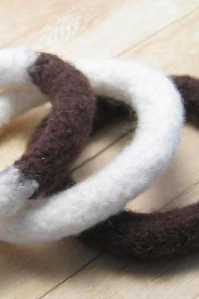 Felted Bangle Bracelets, Taupe and Winter White, Fiber Jewelry, Fulled Crochet Bracelets
