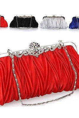 New Womens Wedding Bridal Ruffle Clutch Handbag Cocktail Chain Evening Bag Purse