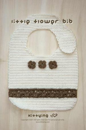 Crochet Pattern Little Flower Bib - Chart & Written Pattern By Kittying