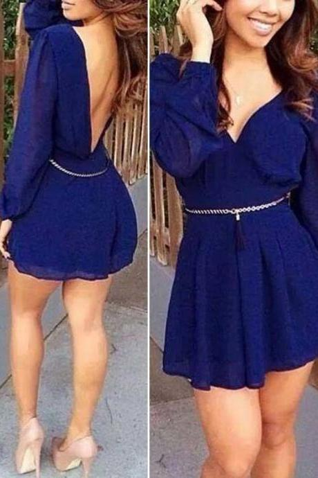 New Sexy Women Summer Casual Long Sleeve Party Evening Cocktail Short Mini Dress