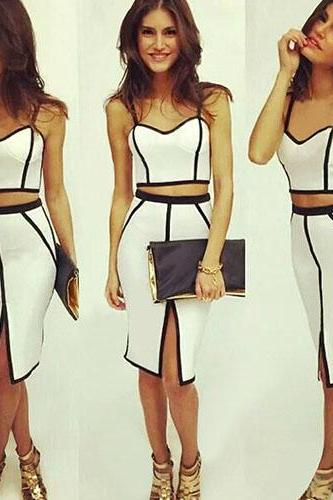 Fashion Contrast Color Two-Piece Style Bodycon Dress