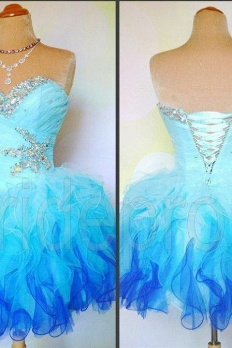 Blue Sexy Short Prom Dress Evening Gowns Cocktail Dresses Custom US 2 4 6 8 10 12 14 16 & Plus Size