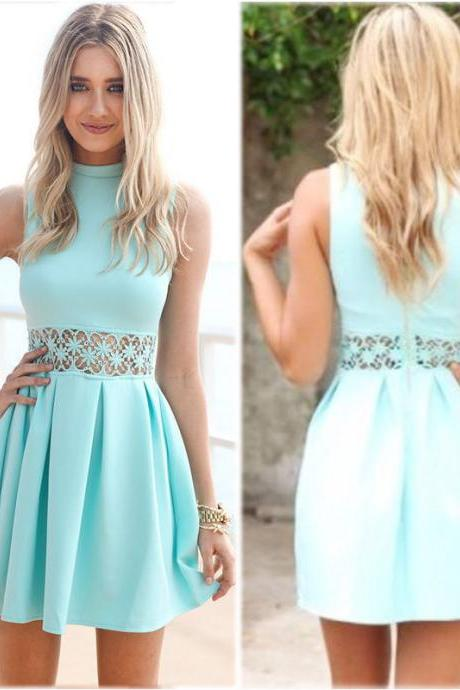 Light Blue Short Sleeveless Skater Dress Featuring Lace Appliquéd and Mock Neck