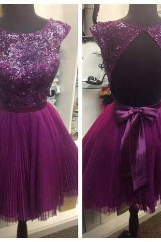 Custom Made A Line Round Neck Short Backless Prom Dresses, Backless Formal Dresses