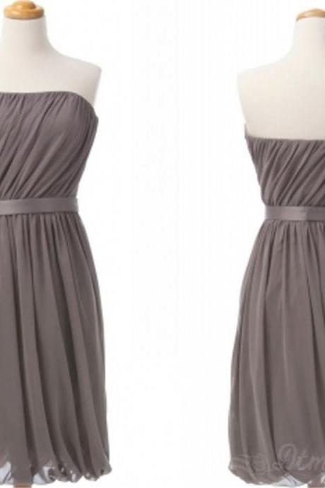 Chiffon Bridesmaid Dress Strapless Backless Short Prom Dress Spd013