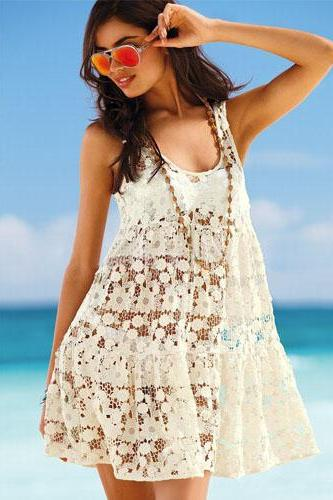 Sexy See-Through Hollow Out Crochet Beach Dress