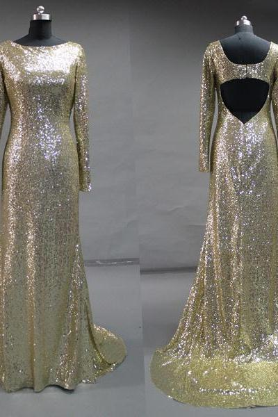 Shiny Sequin Gold Long Sleeves Mermaid Prom Dress,High Neck Open Back Long Evening Dress,Custom Made Mermaid Evening Gown,Sexy Prom Gown