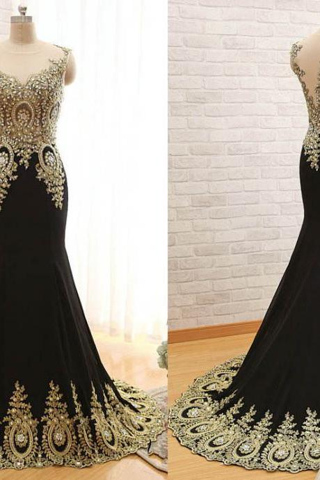 V-Neck Prom Dresses , Women Chiffon Beaded Party Dress, Elegant Mermaid Dress Black Floor Length Party Gown