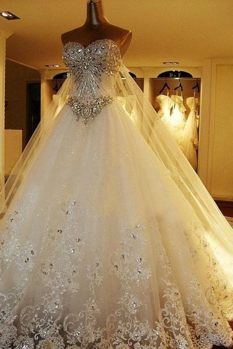 Amazing Luxury Wedding Gowns Bride Dresses Crystals Cathedral Wedding Dresses Free Veil Dresses for Wedding 2015, Wedding Dress