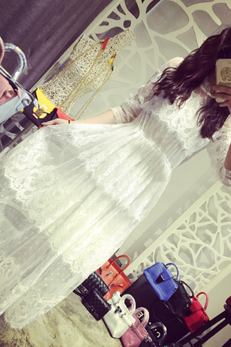 Lace long section waist dress--white